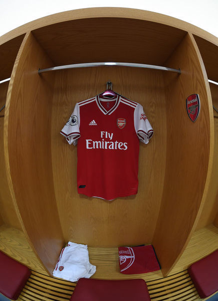 LONDON, ENGLAND - AUGUST 17: The Arsenal changing rooom before the Premier League match between Arsenal FC and Burnley FC at Emirates Stadium on August 17, 2019 in London, United Kingdom. (Photo by Stuart MacFarlane/Arsenal FC via Getty Images)