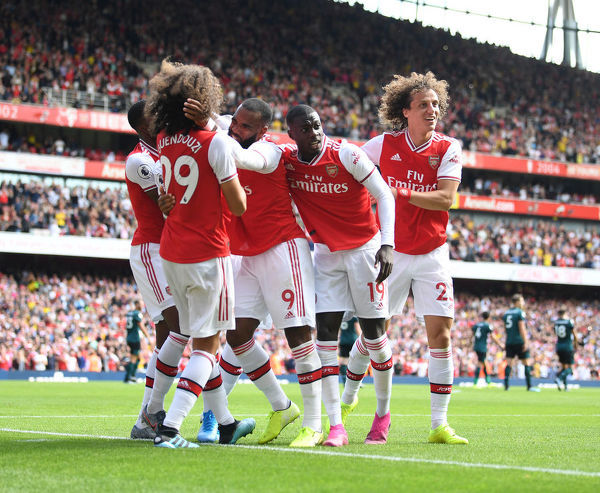 LONDON, ENGLAND - AUGUST 17: (L-R) Matteo Guendouzi, Alex Lacazette, Nicolas Pepe and David Luiz celebrate the 2nd Arsenal goal during the Premier League match between Arsenal FC and Burnley FC at Emirates Stadium on August 17, 2019 in London, United Kingdom
