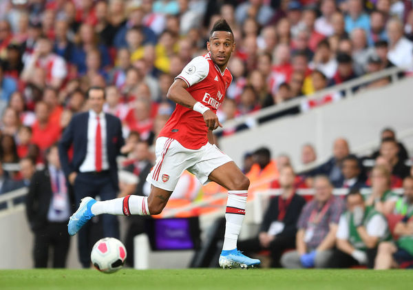 LONDON, ENGLAND - SEPTEMBER 01: Pierre-Emerick Aubameyang of Arsenal during the Premier League match between Arsenal FC and Tottenham Hotspur at Emirates Stadium on September 01, 2019 in London, United Kingdom