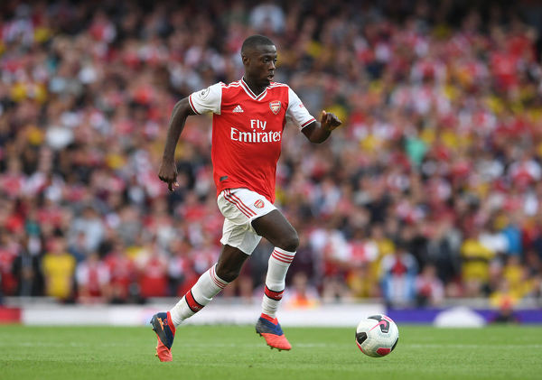 LONDON, ENGLAND - SEPTEMBER 01: Nicolas Pepe of Arsenal during the Premier League match between Arsenal FC and Tottenham Hotspur at Emirates Stadium on September 01, 2019 in London, United Kingdom. (Photo by David Price/Arsenal FC via Getty Images)