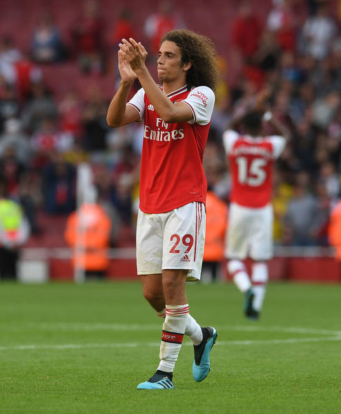 LONDON, ENGLAND - SEPTEMBER 01: Matteo Guendouzi of Arsenal claps the fans after the Premier League match between Arsenal FC and Tottenham Hotspur at Emirates Stadium on September 01, 2019 in London, United Kingdom