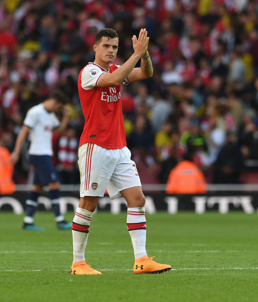 LONDON, ENGLAND - SEPTEMBER 01: Granit Xhaka of Arsenal after the Premier League match between Arsenal FC and Tottenham Hotspur at Emirates Stadium on September 01, 2019 in London, United Kingdom. (Photo by David Price/Arsenal FC via Getty Images)