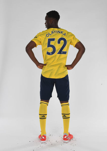 ST ALBANS, ENGLAND - AUGUST 07: James Olayinka of Arsenal at London Colney on August 07, 2019 in St Albans, England. (Photo by Stuart MacFarlane/Arsenal FC via Getty Images)