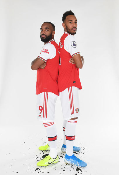 ST ALBANS, ENGLAND - AUGUST 07: (L-R) Alex Lacazette and Pierre-Emerick Aubameyang of Arsenal at London Colney on August 07, 2019 in St Albans, England. (Photo by Stuart MacFarlane/Arsenal FC via Getty Images)
