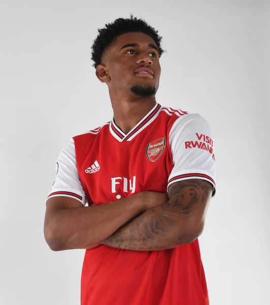 ST ALBANS, ENGLAND - AUGUST 07: Reiss Nelson of Arsenal at London Colney on August 07, 2019 in St Albans, England. (Photo by Stuart MacFarlane/Arsenal FC via Getty Images)