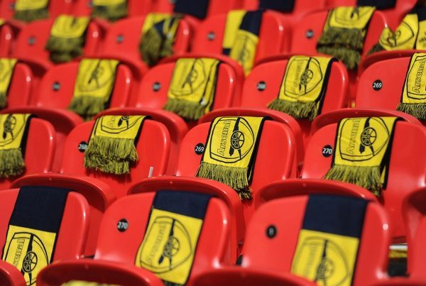 Arsenal scarves left on the seats before the match. Arsenal 4:0 Aston Villa. FA Cup Final. Wembley Stadium, 30/5/15. Credit : Arsenal Football Club / David Price