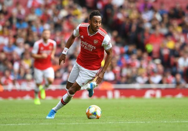 LONDON, ENGLAND - JULY 28: Pierre-Emerick Aubameyang of Arsenal during the match between Arsenal and Olympique Lyonnais at Emirates Stadium on July 28, 2019 in London, England. (Photo by David Price/Arsenal FC via Getty Images)
