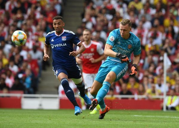 LONDON, ENGLAND - JULY 28: Bernd Leno of Arsenal during the match between Arsenal and Olympique Lyonnais at Emirates Stadium on July 28, 2019 in London, England. (Photo by David Price/Arsenal FC via Getty Images)