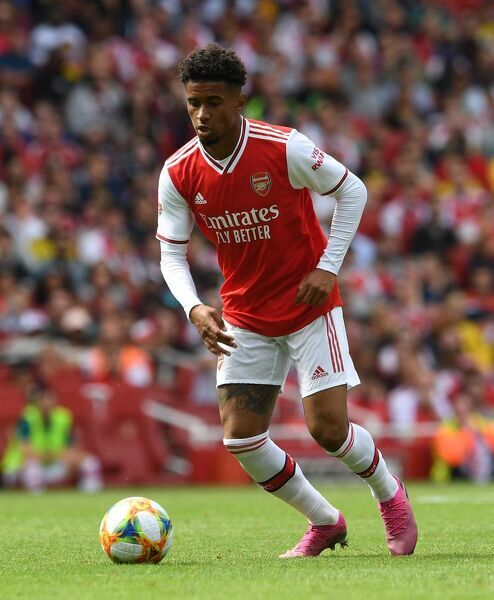 LONDON, ENGLAND - JULY 28: Reiss Nelson of Arsenal during the match between Arsenal and Olympique Lyonnais at Emirates Stadium on July 28, 2019 in London, England. (Photo by David Price/Arsenal FC via Getty Images)