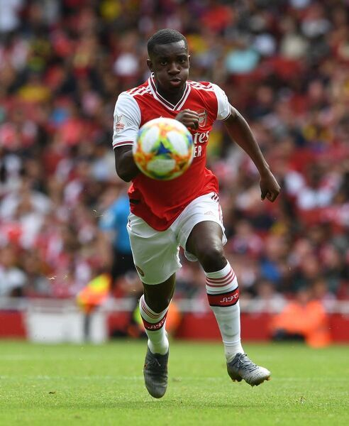 LONDON, ENGLAND - JULY 28: Eddie Nketiah of Arsenal during the match between Arsenal and Olympique Lyonnais at Emirates Stadium on July 28, 2019 in London, England. (Photo by David Price/Arsenal FC via Getty Images)