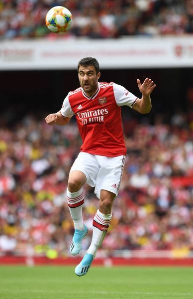 LONDON, ENGLAND - JULY 28: Sokratis of Arsenal during the match between Arsenal and Olympique Lyonnais at Emirates Stadium on July 28, 2019 in London, England. (Photo by David Price/Arsenal FC via Getty Images)