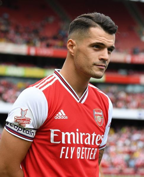 LONDON, ENGLAND - JULY 28: Granit Xhaka of Arsenal before the match between Arsenal and Olympique Lyonnais at Emirates Stadium on July 28, 2019 in London, England. (Photo by David Price/Arsenal FC via Getty Images)