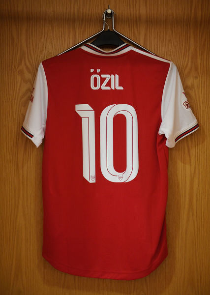 LONDON, ENGLAND - JULY 28: Mesut Ozil's shirt hangs in the home changing room before the Emirates Cup match between Arsenal and Olympic Lyonnais at Emirates Stadium on July 28, 2019 in London, England