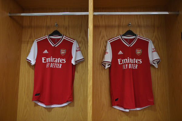 LONDON, ENGLAND - JULY 28: Arsenal shirts hang in the home changing room before the Emirates Cup match between Arsenal and Olympic Lyonnais at Emirates Stadium on July 28, 2019 in London, England
