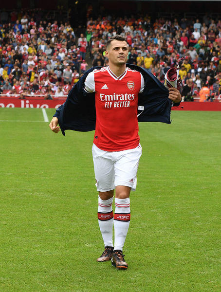 LONDON, ENGLAND - JULY 28: Granit Xhaka of Arsenal before the Emirates Cup match between Arsenal and Olympic Lyonnais at Emirates Stadium on July 28, 2019 in London, England. (Photo by Stuart MacFarlane/Arsenal FC via Getty Images)