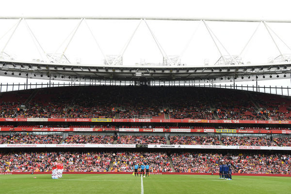 LONDON, ENGLAND - JULY 28: A period of applause for former player Jose Reyes before the Emirates Cup match between Arsenal and Olympic Lyonnais at Emirates Stadium on July 28, 2019 in London, England