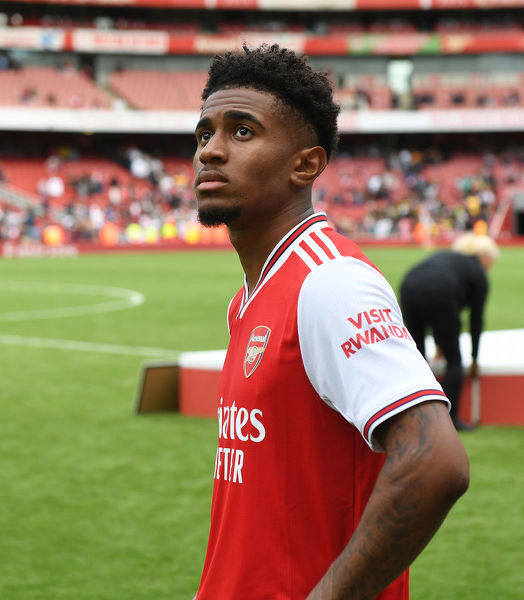 LONDON, ENGLAND - JULY 28: Reiss Nelson of Arsenal after the Emirates Cup match between Arsenal and Olympic Lyonnais at Emirates Stadium on July 28, 2019 in London, England. (Photo by Stuart MacFarlane/Arsenal FC via Getty Images)