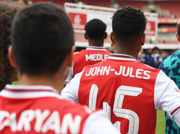 LONDON, ENGLAND - JULY 28: Tyreece John-Jules of Arsenal after the Emirates Cup match between Arsenal and Olympic Lyonnais at Emirates Stadium on July 28, 2019 in London, England. (Photo by Stuart MacFarlane/Arsenal FC via Getty Images)