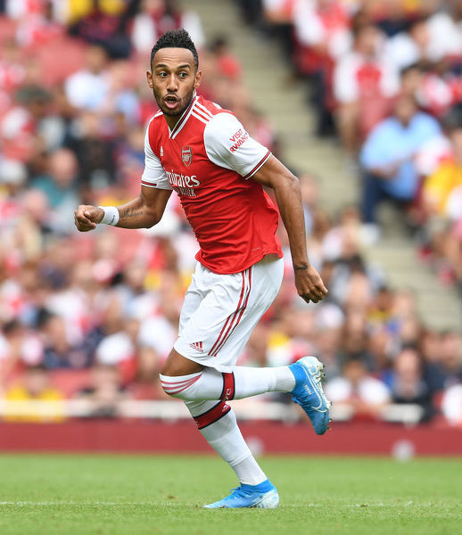 LONDON, ENGLAND - JULY 28: Pierre-Emerick Aubameyang of Arsenal during the Emirates Cup match between Arsenal and Olympic Lyonnais at Emirates Stadium on July 28, 2019 in London, England. (Photo by Stuart MacFarlane/Arsenal FC via Getty Images)