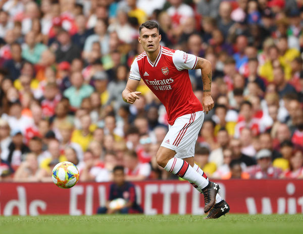 LONDON, ENGLAND - JULY 28: Granit Xhaka of Arsenal during the Emirates Cup match between Arsenal and Olympic Lyonnais at Emirates Stadium on July 28, 2019 in London, England. (Photo by Stuart MacFarlane/Arsenal FC via Getty Images)