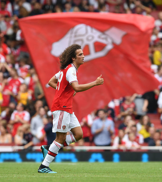 LONDON, ENGLAND - JULY 28: Matteo Guendouzi of Arsenal during the Emirates Cup match between Arsenal and Olympic Lyonnais at Emirates Stadium on July 28, 2019 in London, England. (Photo by Stuart MacFarlane/Arsenal FC via Getty Images)