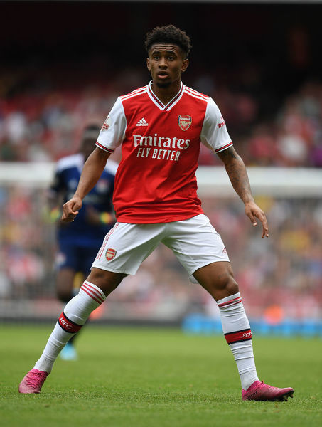 LONDON, ENGLAND - JULY 28: Reiss Nelson of Arsenal during the Emirates Cup match between Arsenal and Olympic Lyonnais at Emirates Stadium on July 28, 2019 in London, England. (Photo by Stuart MacFarlane/Arsenal FC via Getty Images)