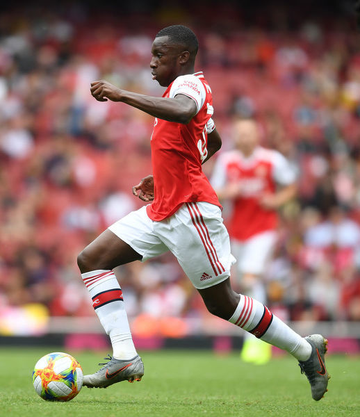 LONDON, ENGLAND - JULY 28: Eddie Nketiah of Arsenal during the Emirates Cup match between Arsenal and Olympic Lyonnais at Emirates Stadium on July 28, 2019 in London, England. (Photo by Stuart MacFarlane/Arsenal FC via Getty Images)