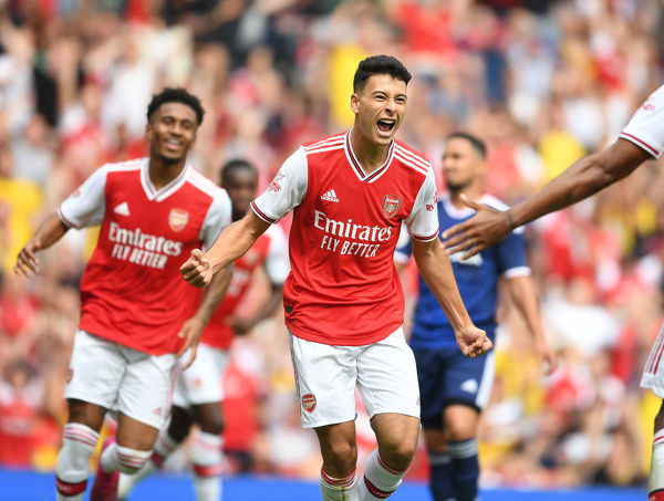 LONDON, ENGLAND - JULY 28: Arsenal's Gabriel Martinelli celebrates his goal that was ruled out for offside during the Emirates Cup match between Arsenal and Olympic Lyonnais at Emirates Stadium on July 28, 2019 in London, England