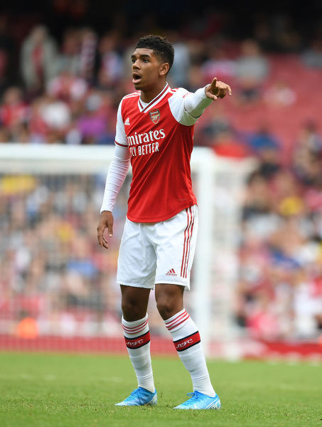 LONDON, ENGLAND - JULY 28: Tyreece John-Jules of Arsenal during the Emirates Cup match between Arsenal and Olympic Lyonnais at Emirates Stadium on July 28, 2019 in London, England. (Photo by Stuart MacFarlane/Arsenal FC via Getty Images)