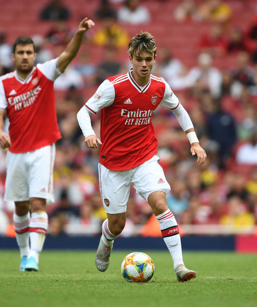 LONDON, ENGLAND - JULY 28: Robbie Burton of Arsenal during the Emirates Cup match between Arsenal and Olympic Lyonnais at Emirates Stadium on July 28, 2019 in London, England. (Photo by Stuart MacFarlane/Arsenal FC via Getty Images)
