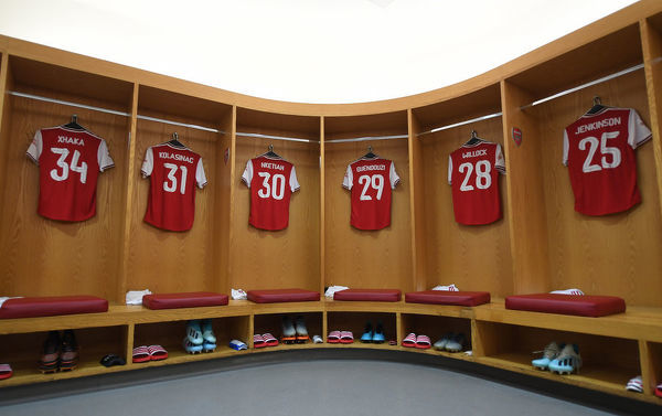 LONDON, ENGLAND - JULY 28: The Arsenal changing room before the Emirates Cup match between Arsenal and Olympic Lyonnais at Emirates Stadium on July 28, 2019 in London, England. (Photo by Stuart MacFarlane/Arsenal FC via Getty Images)