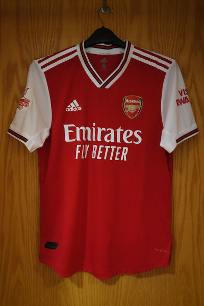 LONDON, ENGLAND - JULY 28: Arsenal shirt hangs in the home changing room before the Emirates Cup match between Arsenal and Olympic Lyonnais at Emirates Stadium on July 28, 2019 in London, England