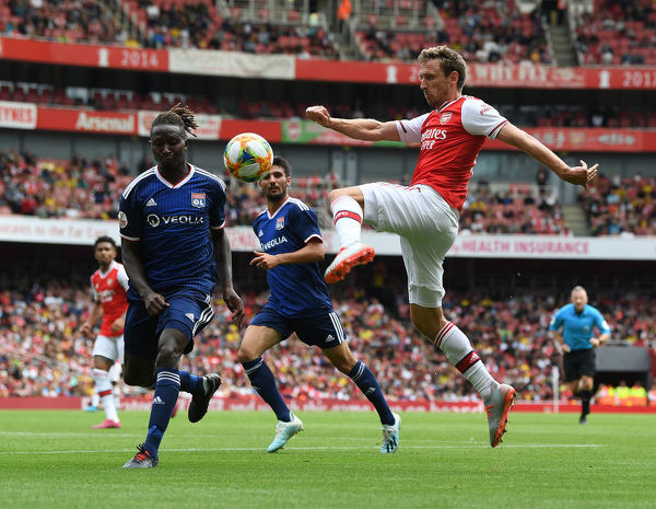 LONDON, ENGLAND - JULY 28: of Arsenal during the Emirates Cup match between Arsenal and Olympic Lyonnais at Emirates Stadium on July 28, 2019 in London, England. (Photo by Stuart MacFarlane/Arsenal FC via Getty Images)