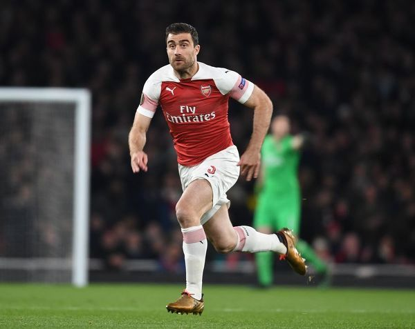 LONDON, ENGLAND - APRIL 11: Sokratis of Arsenal during the UEFA Europa League Quarter Final First Leg match between Arsenal and S