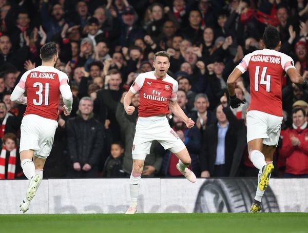 LONDON, ENGLAND - APRIL 11: Aaron Ramsey celebrates scoring the 1st Arsenal goal during the UEFA Europa League Quarter Final First Leg match between Arsenal and S