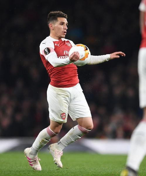 LONDON, ENGLAND - APRIL 11: Lucas Torreira of Arsenal during the UEFA Europa League Quarter Final First Leg match between Arsenal and S