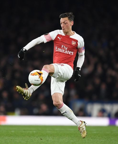 LONDON, ENGLAND - APRIL 11: Mesut Ozil of Arsenal during the UEFA Europa League Quarter Final First Leg match between Arsenal and S