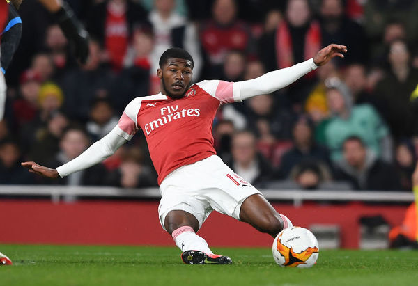 LONDON, ENGLAND - APRIL 11: Ainsley Maitland-Niles of Arsenal during the UEFA Europa League Quarter Final First Leg match between Arsenal and S