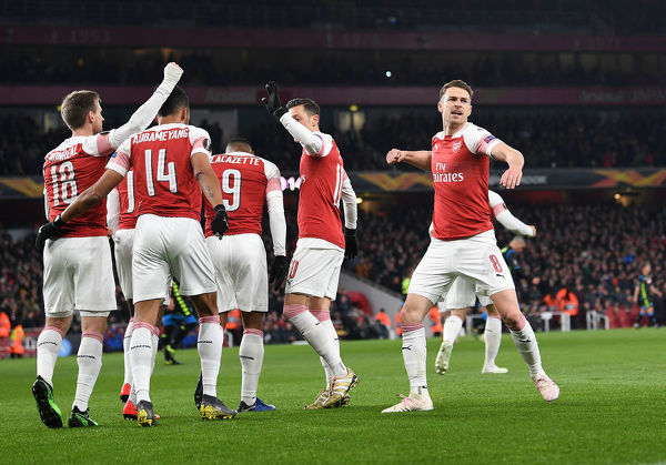 LONDON, ENGLAND - APRIL 11: Aaron Ramsey celebrates scoring a goal for Arsenal during the UEFA Europa League Quarter Final First Leg match between Arsenal and S