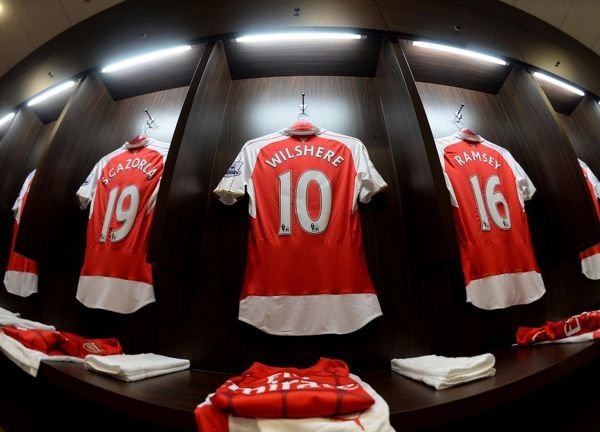 KALLANG, SINGAPORE - JULY 18: Jack Wilshere of Arsenal shirt hangs in the changingroom before the match between Arsenal and Everton at Singapore National Stadium on July 18, 2015 in Kallang