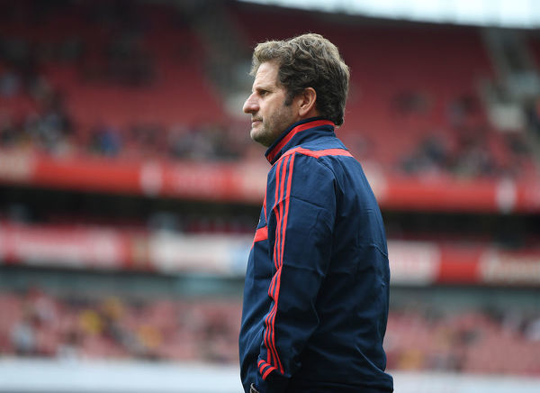 LONDON, ENGLAND - JULY 28: Arsenal Head Coach Joe Montemurro during the Emirates Cup match between Arsenal Women and FC Bayern Munich Women at Emirates Stadium on July 28, 2019 in London, England