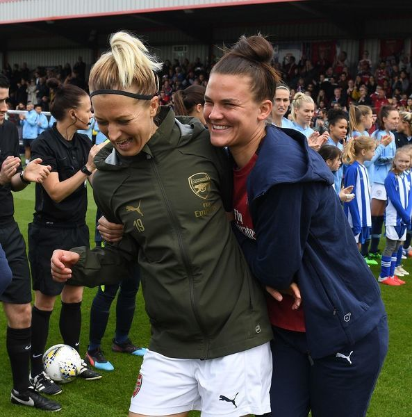BOREHAMWOOD, ENGLAND - MAY 11: Janni Arnth and Katrine Veje of Arsenal before the match between Arsenal Women and Manchester City Women at Meadow Park on May 11, 2019 in Borehamwood, England