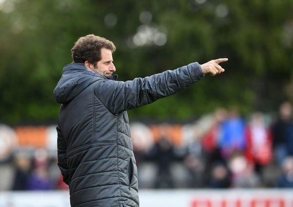 BOREHAMWOOD, ENGLAND - MAY 11: Arsenal Women Manager Joe Montemurro during the match between Arsenal Women and Manchester City Women at Meadow Park on May 11, 2019 in Borehamwood, England