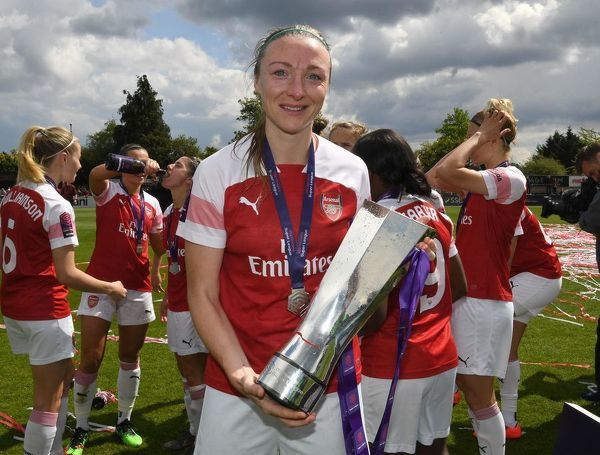 BOREHAMWOOD, ENGLAND - MAY 11: Louise Quinn of Arsenal with the WSL Trophy after the match between Arsenal Women and Manchester City Women at Meadow Park on May 11, 2019 in Borehamwood, England