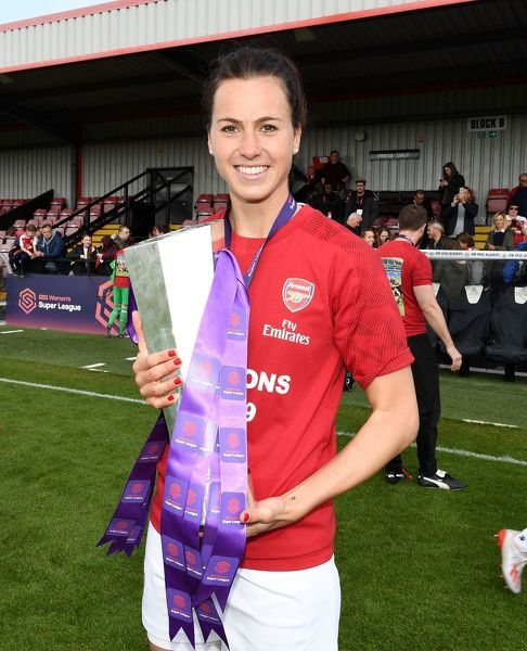 BOREHAMWOOD, ENGLAND - MAY 11: Viki Schnaderbeck of Arsenal with the WSL Trophy after the match between Arsenal Women and Manchester City Women at Meadow Park on May 11, 2019 in Borehamwood, England