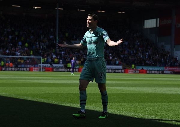BURNLEY, ENGLAND - MAY 12: Stephan Lichtsteiner of Arsenal during the Premier League match between Burnley FC and Arsenal FC at Turf Moor on May 12, 2019 in Burnley, United Kingdom. (Photo by Stuart MacFarlane/Arsenal FC via Getty Images)