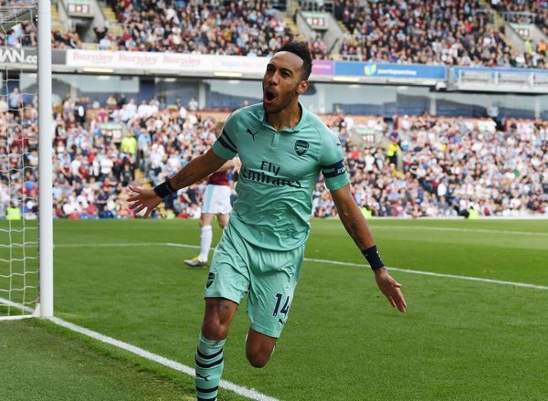 BURNLEY, ENGLAND - MAY 12: Pierre-Emerick Aubameyang celebrates scoring the 1st Arsenal goal during the Premier League match between Burnley FC and Arsenal FC at Turf Moor on May 12, 2019 in Burnley, United Kingdom
