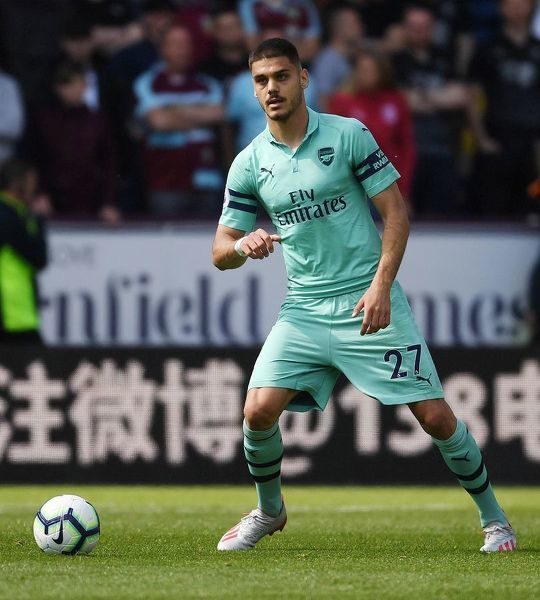 BURNLEY, ENGLAND - MAY 12: Konstantinos Mavropanos of Arsenal during the Premier League match between Burnley FC and Arsenal FC at Turf Moor on May 12, 2019 in Burnley, United Kingdom. (Photo by Stuart MacFarlane/Arsenal FC via Getty Images)