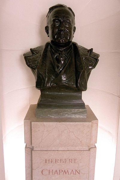 the bust of herbert chapman in the marble