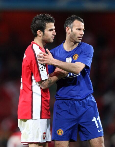 Cesc Fabregas (Arsenal) Ryan Giggs (Man Utd) at the end of the match